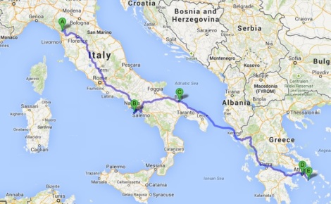 Lucca to Lavrio